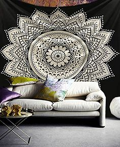Raajsee Black White Mandala Indian Cotton Wall Hanging Yin Yang Tapestry / A Perfect Gift / Boho Decor Hippie Elephant Tapestries /Psychedelic Throw Tapestrys / Bohemian Bedding /Queen Bedspread 85x95 inches/ Table Cloth Yoga Mat Meditation Rugs / Beach Towel-Blanket
