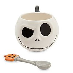 Disney Jack Skellington Mug and Spoon Set | Disney StoreJack Skellington Mug and Spoon Set - Halloween Town's Pumpkin King lowers an eyebrow and shoots a reproachful glare from this mug. The molded design adds an extra dimension to this Jack Skellington cup that comes with a coordinating ceramic spoon.