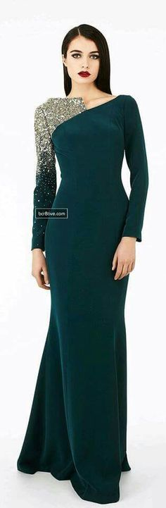Wedding Reception Wear , Date Wear , Party Ready... Bottle Green With Edgy One Side Sleeves