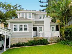 Reno by Stritt Design Weatherboard Exterior, Exterior Cladding, Hamptons Style Homes, Hamptons House, White Exterior Houses, Exterior House Colors, Sandstone Cladding, Avalon House, Facade House