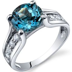 TOPSELLER! Solitaire Style 2.25 carats London Blue Topaz Ring in Sterling Silver Rhodium Finish Available in Sizes 5 thru 9 $39.99