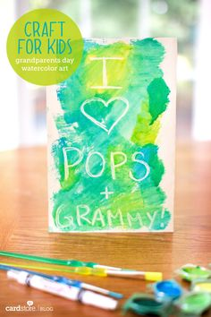 Grandparents Day Watercolor Art {craft for kids} - would be cute to do as diy thank you cards where I write in the clear wax and C watercolors over the top!