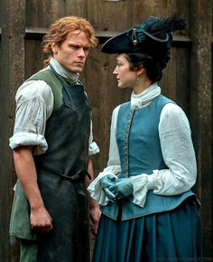 "outlassed: ""Outlander Season 3 | Jamie Fraser (Sam Heughan), Claire Fraser (Caitriona Balfe) & Geneva Dunsany (Hannah James) via Entertainment Weekly """
