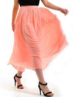 Pink Casual Plain Chiffon Sewing Midi Skirt
