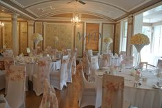 Chair cover and vintage floral sash at the Lincombe hall hotel Torquay wedding.