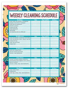 This Free Printable House Cleaning Schedule (available in Daily, Weekly, and Monthly versions) is perfect to get your household tasks in order. Household Cleaning Schedule, Cleaning Schedule Printable, Weekly Cleaning, Cleaning Checklist, Cleaning Hacks, Schedule Templates, Cleaning Schedules, Household Tips, Beauty Routine Schedule