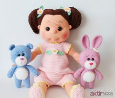 Ravelry: Amigurumi Emma Doll pattern by Tiny Mini Design Hello, We have come with my daughter Emma Tonton today :) It took quite a bit longer to knit because it is a big baby. v ring amigurumi 2 p. Doll Amigurumi Free Pattern, Crochet Dolls Free Patterns, Crochet Motifs, Baby Knitting Patterns, Amigurumi Doll, Doll Patterns, Crochet Teddy, Crochet Toys, Knit Crochet