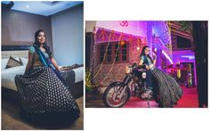 #WeddingSutraP2W   A navy blue velvet lehenga with gold work paired with a turquoise blouse by Frontier Raas for Bride- Mansi of WeddingSutra. Photos Courtesy- Photoshastra