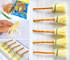 Cheese and Pretzel Broomsticks Halloween Treat: Cheese and Pretzel Broomsticks. These are so easy and such a cute idea for a Halloween themed treat! Halloween Finger Foods, Creepy Halloween Food, Halloween Party Appetizers, Healthy Halloween Treats, Halloween Food For Party, Party Snacks, Halloween Halloween, Comida De Halloween Ideas, Food Art For Kids