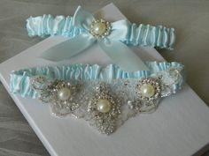 Wedding Garter Set Light Blue Garter with Pearls by GartersByTania, $45.00