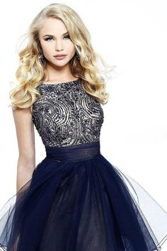 A-line Scoop Tulle Black Cocktail Dresses/Short Prom Dress With Beading #FG004