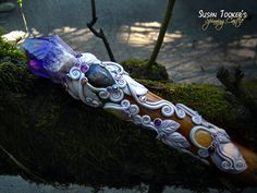DIANA'S MOONFOREST SCEPTER Reversible Magic Crystal Wand with Amethyst & Iron Oxide Candle Quartz by Susan Tooker of Spinning Castle.