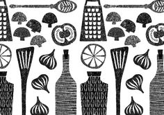 debbie powell (probably silkscreened, but the style would be suitable for blockprinting too)