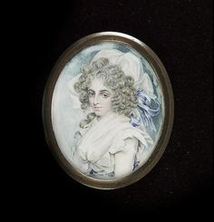 Circle of Edward Miles, A Lady called Hannah Spooner, wearing white dress, her hair powdered; together with a portrait of Sarah Siddons, after John Downman (2)
