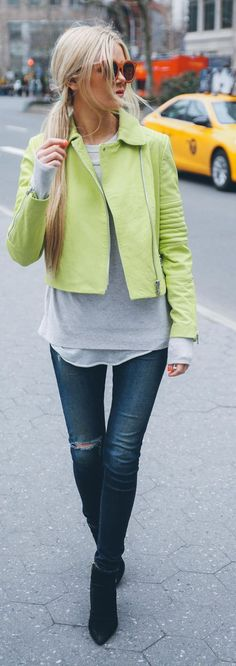 Lime Green Biker Jacket Outfit Idea by Barefoot Blonde