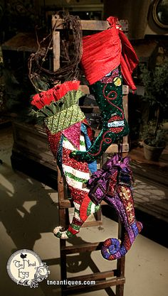 A variety of stockings with styles ranging from bling to burlap