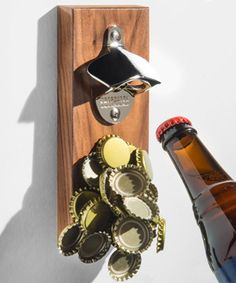 Magnetic bottle opener that catchers your bottle caps. Makes a perfect gift for dad! Gifts for him, gifts for fathers, gifts for dads, fathers day. Magnetic Bottle Opener, Wall Mounted Bottle Opener, Unique Gifts, Best Gifts, Gifts For Father, Dad Gifts, Perfect Gift For Dad, Dinner With Friends, Rustic Walls