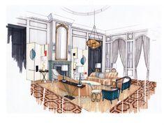 Interior Design Drawing Room by Abbie de Bunsen. #interiordesign #sketch #livingroom