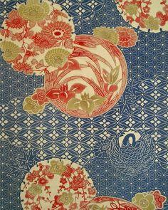 kimono fabric.  gorgeous colors Japanese Textiles, Japanese Patterns, Japanese Prints, Japanese Fabric, Japanese Design, Japanese Kimono, Motif Design, Textile Design, Pattern Design