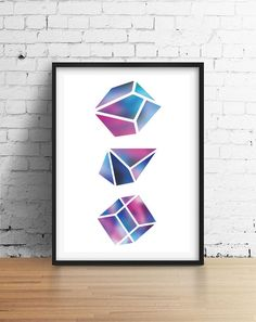 Gem Print Wall Decor Crystal Print Crystal Poster by LovelyPosters