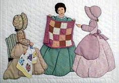 """MEG - """"Gentlewomen Bonnet Girls Relatives & Friends""""  Quilting Bee.  In order to make your own Quilting Bee double block you will need  Meg Full Face, Margaret, the New Quilt and the Spring Flowers Quilt patterns.  Variation #7."""
