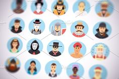 Flat vector persons icons set by painterr on @creativemarket
