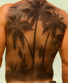 Palm tree tattoo on complete back