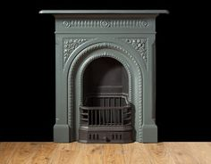 small ornate arch antique cast iron fireplace front fire surround ...