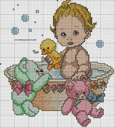 Baby in tub x-stitch with stuffed animals Funny Cross Stitch Patterns, Cute Cross Stitch, Cross Stitch Designs, Cross Stitch Numbers, Christmas Embroidery Patterns, Baby Patterns, Cross Stitching, Needlepoint, Baby Gifts