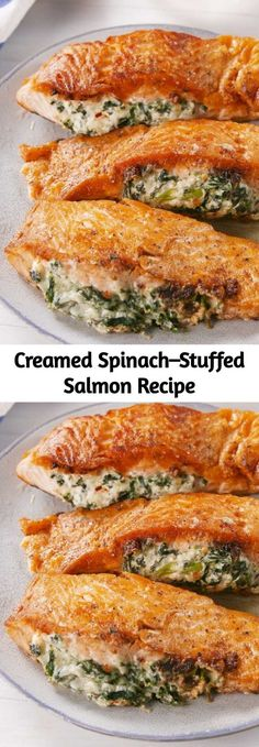 If you're skeptical about the combination of cheese and salmon, don't be. We promise you, it's AMAZING. # very Easy Recipes Creamed Spinach–Stuffed Salmon Recipe Easy Salmon Recipes, Fish Recipes, Seafood Recipes, New Recipes, Cooking Recipes, Favorite Recipes, Healthy Recipes, Cake Recipes, Fish Dishes