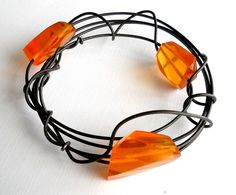 Items similar to Bangle Bracelet, handmade, orange resin and steel by Bolder and Beautiful for Etsy on Etsy Handmade Bracelets, Bangle Bracelets, Bangles, Jewelery, Resin, Wire, Artists, Steel, Orange