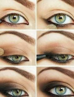 Smokey eye style for Green eyes.Did this the last two days, looks great and lasts! I used MAC Romp as the brown and A regular black pencil liner. Too Faced George & Weezy as a light gold in the corner.