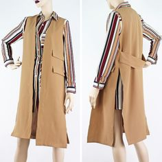 PinkCad Long Camel Waistcoat With Splits At The Side Available Instore And Online www.pinkcadillac.co.uk Camel, Duster Coat, Jackets, How To Wear, Fashion Trends, Shirts, Outfits, Collection, Tops