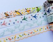 Birdie Washi Tapes Sample Set - 4 designs, 100cm from each design - Free Shipping