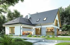 Projekt domu z poddaszem Viking 4 o pow. 156,9 m2 z obszernym garażem, z dachem dwuspadowym, z tarasem, sprawdź! Home Interior Design, Exterior Design, Vikings, Home Fashion, Contemporary Style, Interior Inspiration, Villa, Cabin, Mansions