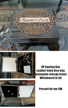 Handmade DD or RPG dice box. Wood box from Michaels, stained and detailed. Leather lined dice tray with removable storage frame. Whiteboard for notes in the lid. Made for our GM. Tabletop Rpg, Tabletop Games, Rpg Board Games, Dyi, Pen & Paper, Dungeons And Dragons Dice, Dice Box, Michael S, Geek Crafts