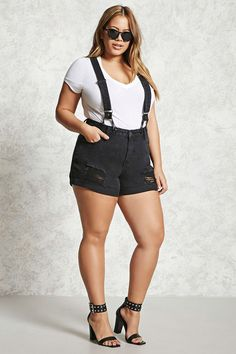 Forever 21+ - A pair of suspender shorts featuring adjustable and removable faux leather trimmed straps, a zipper fly, five-pocket construction, and distressed detailing throughout.