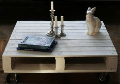 Pallet coffee table I made, rabbit lamp from www.bodieandfou.com, Decorate book by Holly Becker