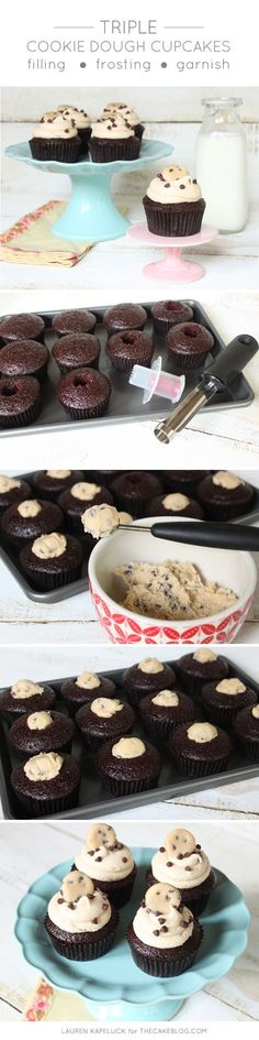 Triple Cookie Dough Cupcakes   by Lauren Kapeluck for http://TheCakeBlog.com