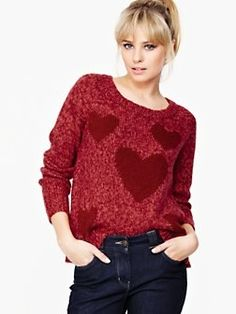 South Knitted Heart Jumper Cream
