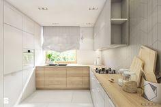 (Dąbrowa Górnicza) Dom jednorodzinny 15 - Średnia zamknięta kuchnia w kształcie litery l w aneksie z oknem, styl nowoczesny - zdjęcie od BAGUA Pracownia Architektury Wnętrz
