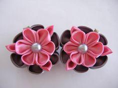kanzashi flower, a set kanzashi hair clip, flower, kanzashi, kids hair clip, toddler hair clip, adult hair clipflower hiar clips by CarmelasDesigns on Etsy