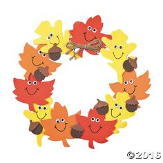 Foam Smile Face Leaves Wreath Craft Kit. 11 1/2 All craft kit pieces are pre-packaged for individual use. Kits include instructions and extra pieces. © ...
