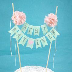 Cake topper wedding Mint Blush Pompom flower by Hartranftdesign, $35.00