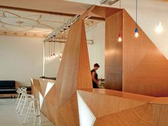 interior faceted wooden bar