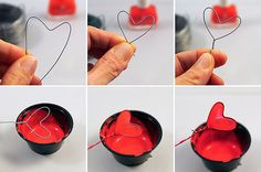 """I admit that I was never """"faithful"""" to Valentine's Day, as opposed to the symbol of … DIY Nail Polish Rack! - I hate the fabric design she used but it is a neat idea How To: Make Your Own Nail Polish Nail Polish Flowers, Nail Polish Crafts, Nail Polish Art, Nail Polish Trends, Wire Crafts, Diy And Crafts, Diy Nagellack, Wire Flowers, Wedding Nails Design"""
