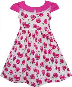 Girls Dress Rose Flower Turn-down Collar Lace Pink Size 4-10 Years