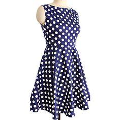 Women's Bateau Polka Dots Loose Big Swing Above Knee Dress – USD $ 15.99