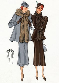 Ladies' suits. I love the swing jacket and skirt that flares from the knee.