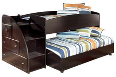 bottom bunk on casters to hide away during day and keep top bunk from being too close to ceiling... like the idea